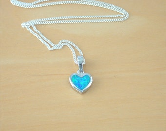 "925 Blue Opal Heart Pendant & 18"" Silver Chain/Opal Heart Necklace/Blue Opal Jewelry/Blue Opal Jewellery/October Birthstone/Opal Jewelery"