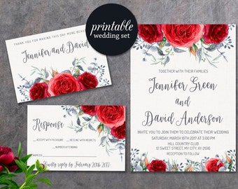 Printable Wedding Invitation Set, Floral Wedding Invitation Suite Red Wedding Invitation, Watercolor Roses Winter Wedding Invitation