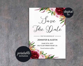 Floral Save the Date Card Burgundy Save the Date Card, Printable Save the Date Marsala Pink Save the date Printable Bohemian Save the date
