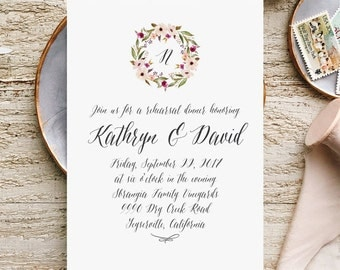 Printable Wedding Rehearsal Invitations with Blush Greenery