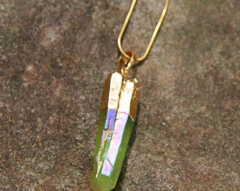 Mermaid Green Crystal Gold Plated Pendant Necklace