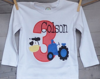Personalized Birthday Tractor Cow Applique Shirt or Onesie Girl or Boy