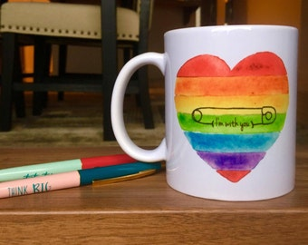 Safety Pin Mug // Safety Pin Movement // Safety Pin // Love Trumps Hate // Safe Place // Safe with me // I'm with you // Coffee Mug // LGBT