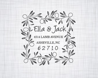 Floral Personalized Custom Name Return Address Stamp Wedding Gift Handle Mounted Rubber Stamp Or Pre-inked Stamp Self inking Stamp RE863