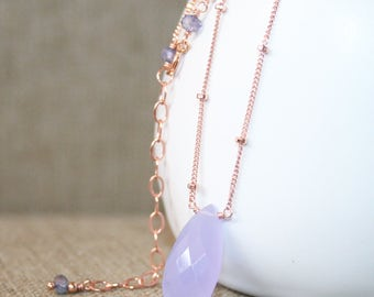 Lilac Chalcedony Pendant Necklace, 14K Rose Gold Filled, Satellite Chain, Lavender Chalcedony Necklace, Gemstone Pendant Necklace