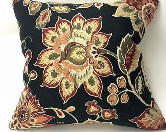 Black, Burgandy, Gold, & Green Floral Decorative Pillow Cover