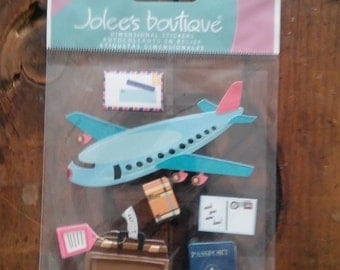 Jolee's boutique Dimensional Stickers- Airplane Travel- 6 pcs-  Brand New-