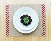 Burlap Christmas Placemats with Hand-Printed Chevron Detail in Red.  Set of 4 or 6 Holiday Placemats.
