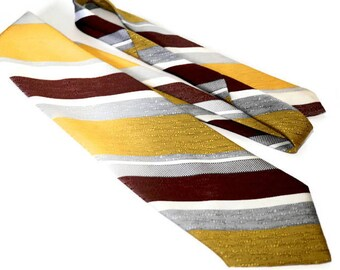 "Vintage Wide Polyester 70s Tie,,CURRIE CANADA Tie,Yellow & Brown Diagonal Striped Tie,57.8"" x 4.1"" Tie,Retro Kipper Tie,Made in Canada"