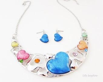 Blue and Orange Heart Bib Necklace, Heart Collar Necklace, Colourful Heart Necklace, Silver Heart Necklace, Heart Jewellery
