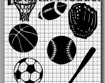 Sports Collection SVG, (dxf, eps, png, svg, studio3 file types) Sports Equipment Die Cut Files, Silhouette Cameo, Cricut, Instant Download