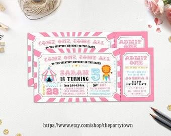 Circus Ticket Birthday Party Invitation, Carnival Birthday Invite, Pink Circus, Girl Invite Personalized Printable Invitation