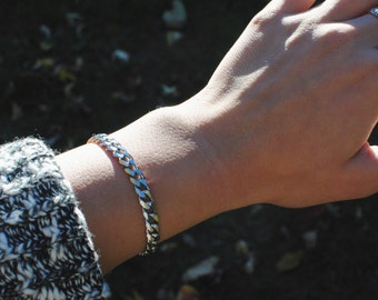 Steel Curb Chain Layering Bracelet