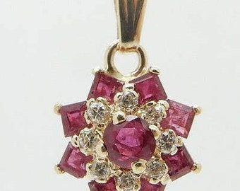 Solid 14K Yellow Gold 1.00cttw Red Ruby and Diamond Accent Flower Dangle Pendant; sku # 2515