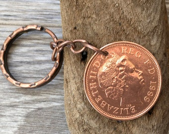 19th or 20th birthday gift, 1998 or 1999 British coin keychain, English, anniversary, small present for him, man