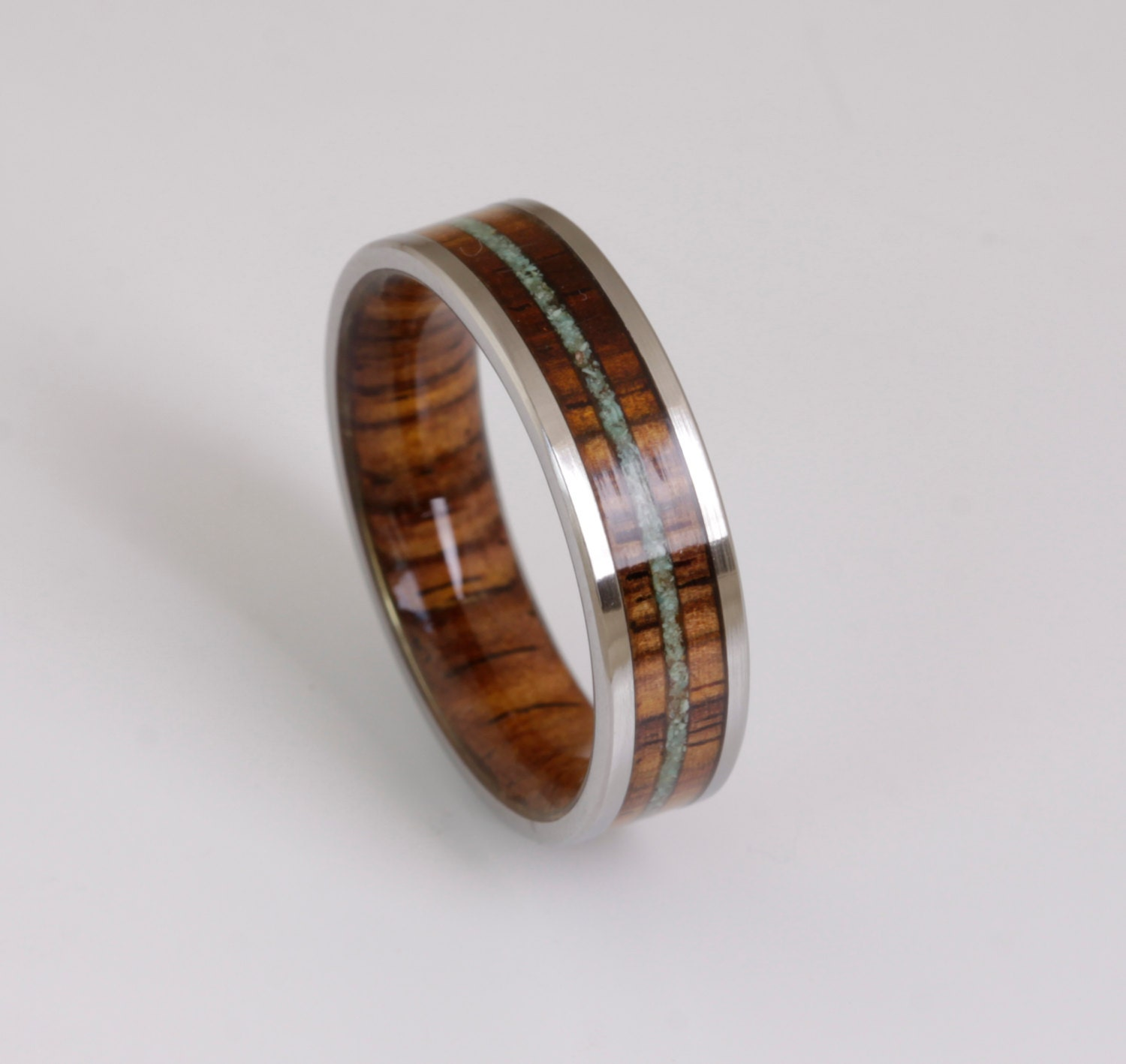 Wood Wedding Band Mens Wedding Ring TURQUOISE Ring WOOD Ring