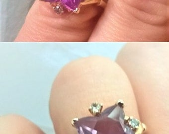 Intense Color Change Fancy Cut Alexandrite Sapphire Art Nouveau Statement June Birthstone Engagement Right Hand Ring Vintage Estate 14K