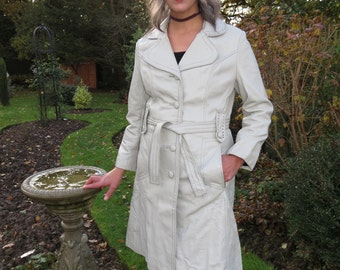 Rainy Day Woman Vintage 1970s Soft Leather Coat Knee Length Belted Great Condition