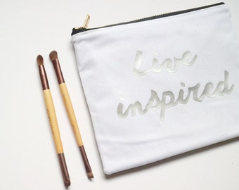 Silver Metallic Live Inspired Pouch