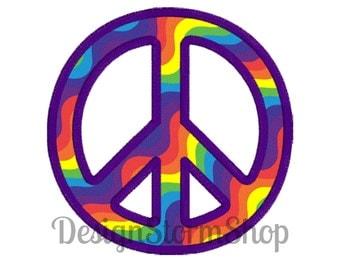 Peace Sign Applique Design/Machine Embroidery/Peace Symbol applique/Instant Digital File Download/4x4 5x7 6x10 Hoops