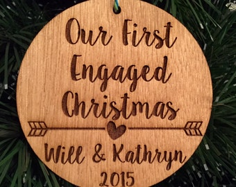 Our First Engaged Christmas Ornament - Personalized Wood Ornament, He Asked, She Said Yes, Gift for Her, Engagement Gift, Wedding, Marriage
