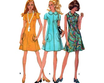 "1970's A-Line Knee Length Dress Women's Sewing Pattern, Sleeveless or Short Sleeves Misses Size 14 Bust 36"" Uncut Vintage 70's McCall's 2545"