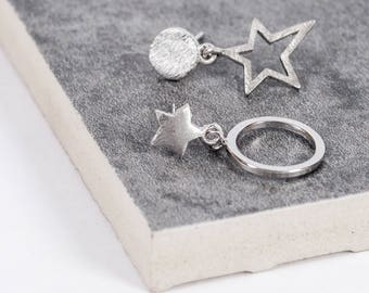 Sterling Silver Star and Full Moon Earrings