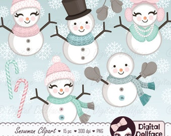 Christmas Snowman Clipart, Snow / Winter Clipart, Cozy Snowmen Clip Art