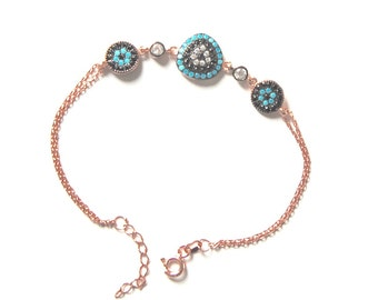 Turkish Evil Eye ,Pink Rose Gold Plated , Sterling Silver Bracelet Bridesmaid Gift