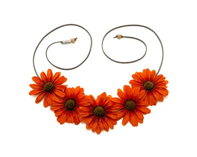 Autumn Orange Daisy Flower Crown