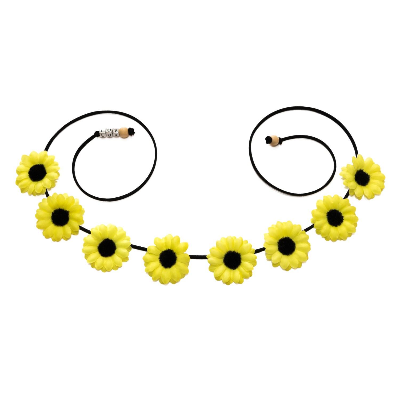 Neon Yellow Daisy Flower Crown Flower Headband Rave Headband Rave