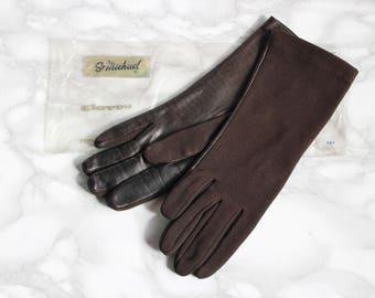 Deadstock St Michael Vintage Womens Driving Gloves • 1950s Brown Leather Gloves • Formal Nylon Gloves • Evening Gloves • Silk Gloves 6 XS