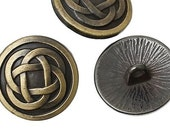 "Gorgeous Metal Sewing Shank Buttons Round Antique Bronze Celtic Knot - 5/8"" Dia - Pack of 6"