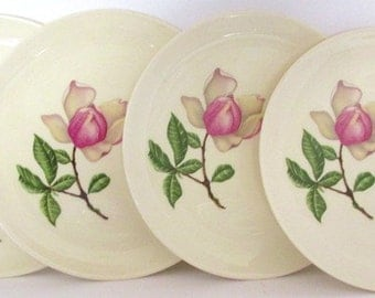 Vintage CROOKSVILLE Plates Southern Belle Pink and White Magnolia Lot of 4 Dessert Plates Bread Salad Sandwich Floral Trim USA 6.25in Across