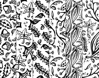 Fall Digital Pattern Overlays - Autumn Paper Patterns Leaf Acorn Woodland - 12x12 300dpi background textures Patterns - Instant Download
