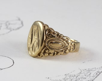 Antique 14k Military Signet Date Ring By Theedencollective