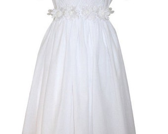 First Holy Communion Girls White Dress, puffy sleeves, white flowers, pearls, long sash.  Size  10, 12,  14 yrs.  17295