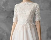 A-line beaded wedding dress, tulle skirt, lace top, bridal gown // Thalia