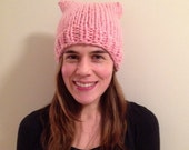 Light pale Pink pussy hat soft and warm 100% wool made to order