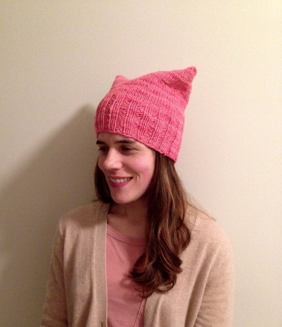 100% Merino wool pink pussy hat soft and warm hand knit