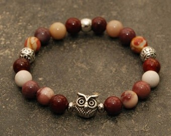 Gemstone Beaded Bracelet - Women's Moonakite with Silver Owl