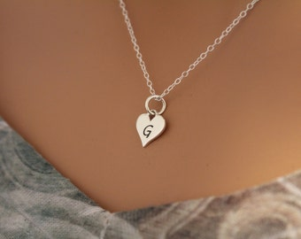 Sterling Silver G Letter Heart Necklace, Silver Tiny Stamped G Initial Heart Necklace, Stamped G Letter Charm Necklace, G Initial Necklace
