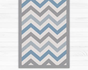 Blue And Grey Chevron Rug   Linoleum Art Mat. Printed Vinyl Rug With  Geometric Pattern