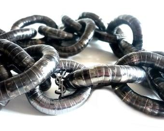 YVES SAINT LAURENT ~ Authentic Vintage Large Flexible Links/Rings Long Necklace/Chain