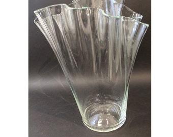 Mid Century Modern Glass Handkerchief Vase