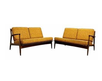 Mid Century Modern Danish Kofod Larsen for Selig Pair of Walnut Sofa Sectional
