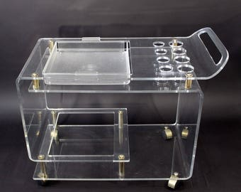 Mid Century Modern Rolling Lucite Brass Bar Cart w/ Removable Tray 1970s
