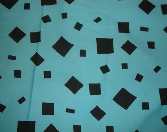 Vintage KLOPMAN MILLS Gabardine Style Dress Weight Fabric Blue with Multi Size Black Squares 45 Inches Wide Selling by the Yard