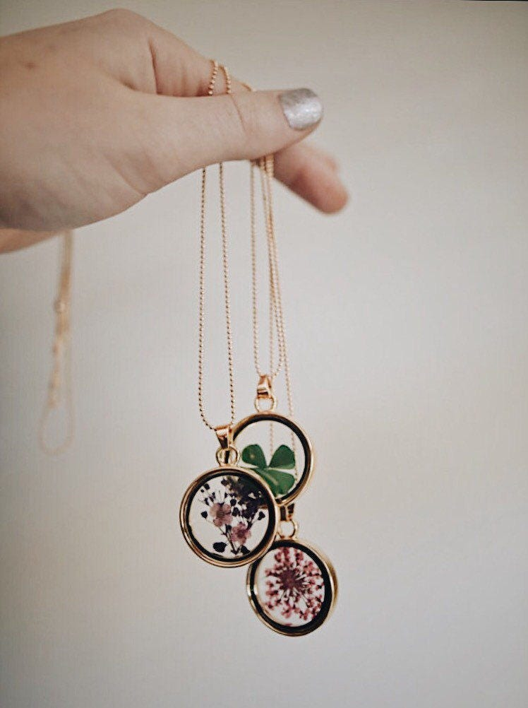 Pressed Dried Flowers Pendant Necklace Nature Jewelry