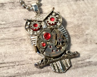 Steampunk Owl Necklace, Steampunk Jewelry, Repurposed Bulova Watch Movement, Silver and Red Owl Pendant, Owl Pendant, Steam punk Jewelry